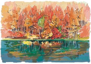 秋深い色づく紅葉と御射鹿池のイラスト素材 [FYI03017560]