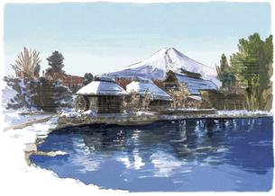 雪化粧をした忍野八海と富士山のイラスト素材 [FYI03017564]
