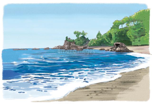 砂浜から見渡す桂浜のイラスト素材 [FYI03017565]