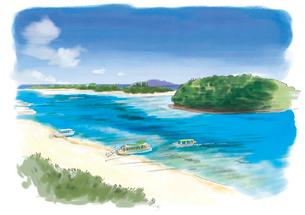 石垣島の川平湾に停留する船と青い海のイラスト素材 [FYI03017566]