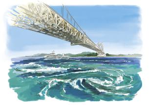 観潮船から望むうずしおと大鳴門橋のイラスト素材 [FYI03017568]