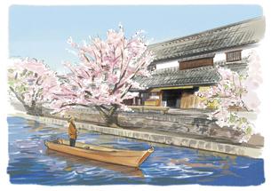 倉敷川から眺める桜と伝統的な建物のイラスト素材 [FYI03017570]