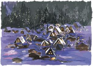 雪深い夜の中でライトアップされる白川郷合掌造りのイラスト素材 [FYI03017572]