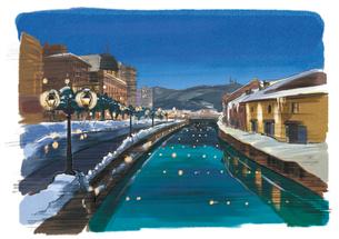 小樽雪あかりの路と倉庫群ライトアップのイラスト素材 [FYI03017575]