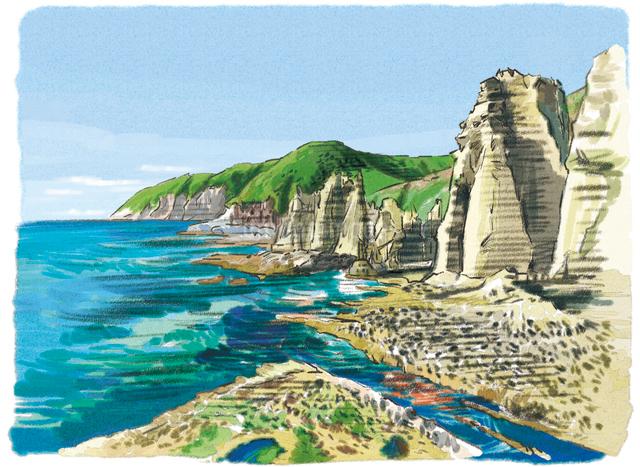 自然がつくりあげた神秘的な断崖と巨岩たちのイラスト素材 [FYI03017582]