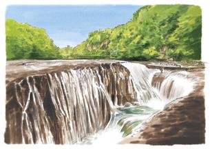水しぶきを上げながら流れ落ちる吹割の滝のイラスト素材 [FYI03017593]