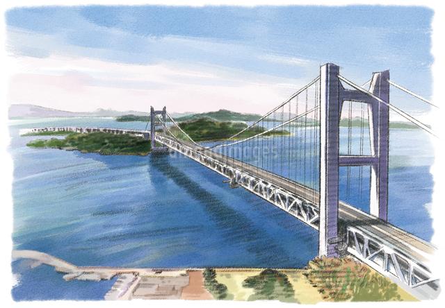 鷲羽山から眺める瀬戸内海と瀬戸大橋のイラスト素材 [FYI03017599]