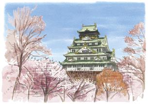桜満開の奥にそびえる大阪城のイラスト素材 [FYI03017600]