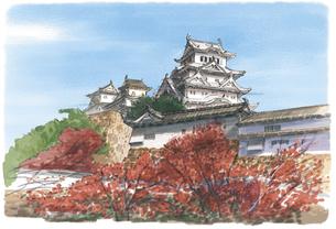 大地が紅く染まる中にそびえる姫路城のイラスト素材 [FYI03017601]
