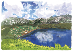室堂のみくりが池の背後に連なる立山連峰のイラスト素材 [FYI03017603]