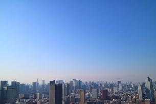 豊洲の高層タワーラウンジから見た銀座方面の風景の写真素材 [FYI03018142]