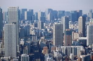 豊洲の高層タワーラウンジから見た大手町方面の風景の写真素材 [FYI03018168]