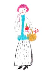 カゴを持つ女性のイラスト素材 [FYI03018335]