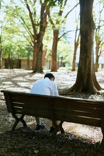 公園で背を向けて項垂れる男性の写真素材 [FYI03018485]