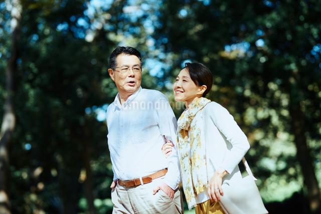 公園で散歩する老夫婦の写真素材 [FYI03018492]