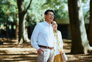 木漏れ日のさす公園で散歩する老夫婦の写真素材 [FYI03018493]