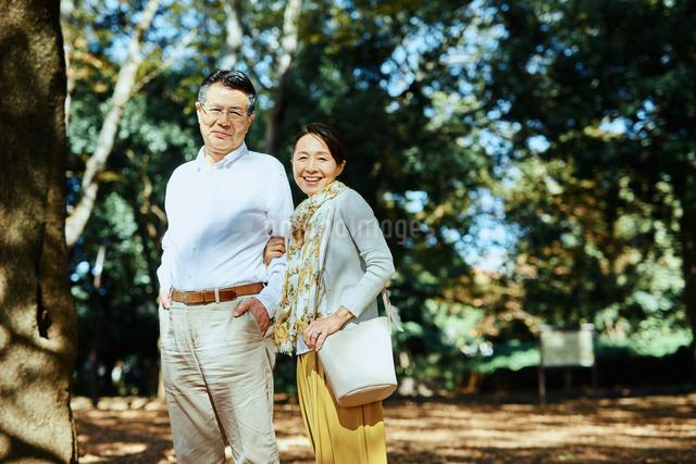 公園で散歩する老夫婦の写真素材 [FYI03018497]