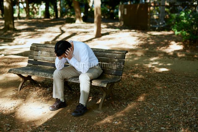 公園で項垂れる男性の写真素材 [FYI03018513]