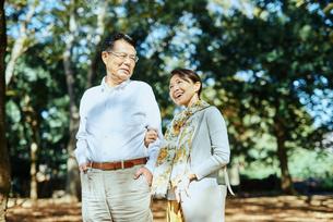 公園で散歩する老夫婦の写真素材 [FYI03018517]