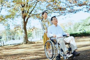 公園を車椅子で散歩する老夫婦の写真素材 [FYI03018541]