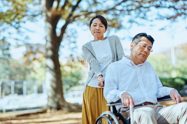公園を車椅子で散歩する老夫婦の写真素材 [FYI03018548]