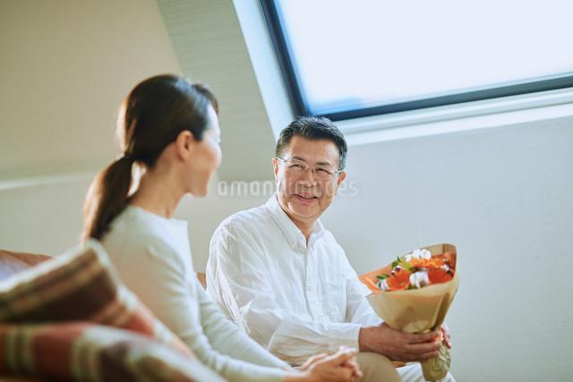 プレゼントを渡す老夫婦の写真素材 [FYI03018599]