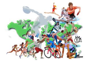 世界地図とオリンピックスポーツ 2のイラスト素材 [FYI03018752]