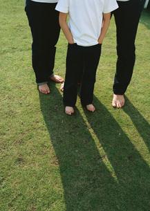 芝生に立つ親子の写真素材 [FYI03029496]