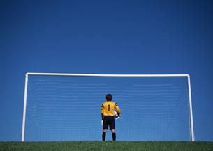 サッカーゴールのゴールキーパーの写真素材 [FYI03029918]