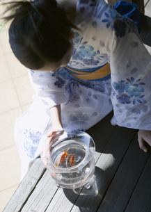 金魚鉢を覗き込む女性の写真素材 [FYI03030286]
