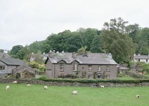 牧草地と住宅の写真素材 [FYI03032264]