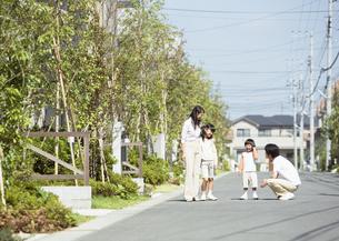 散歩をする親子の写真素材 [FYI03035112]