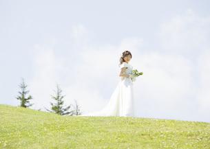 草原を歩く新婦の写真素材 [FYI03038642]