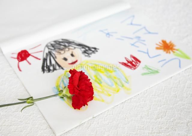 カーネーションとクレヨン画の写真素材 [FYI03040560]
