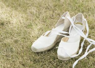芝生の上のサンダルの写真素材 [FYI03041137]