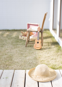 庭の麦わら帽子とウクレレの写真素材 [FYI03041165]