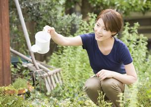 水遣りをする女性の写真素材 [FYI03041184]