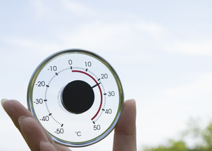 丸い温度計を持つ手の写真素材 [FYI03041859]