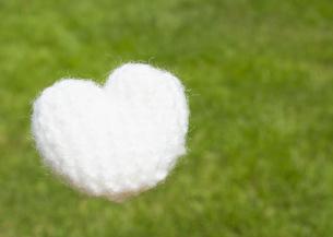 芝生と毛糸のハートの写真素材 [FYI03041934]