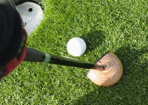 パークゴルフのボールとクラブの写真素材 [FYI03043359]