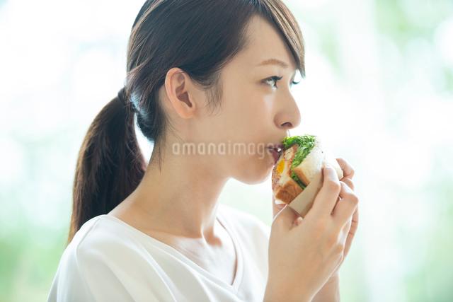 サンドイッチを食べる女性の写真素材 [FYI03044807]