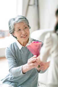 孫から花束を受け取る祖母の写真素材 [FYI03045044]