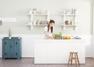 キッチンに立つ女性の写真素材 [FYI03047814]