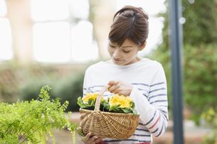 花を持つ女性の写真素材 [FYI03048407]