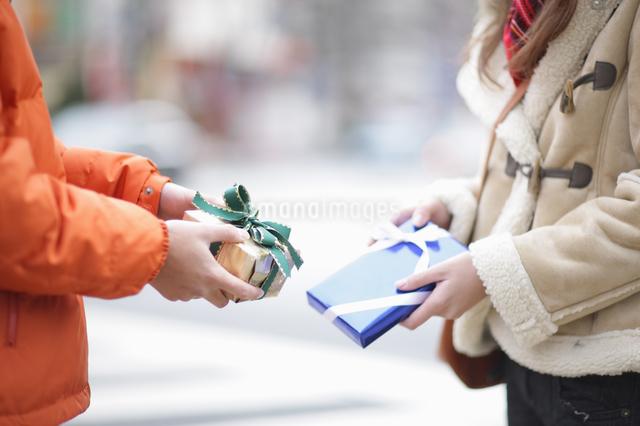プレゼントを交換するカップルの写真素材 [FYI03050202]