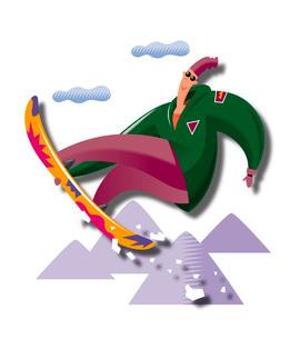 ジャンプをするスノーボーダーのイラスト素材 [FYI03052188]