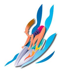 ジェットスキーを楽しむ女性のイラスト素材 [FYI03052196]