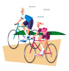サイクリングをするカップルのイラスト素材 [FYI03052217]