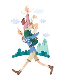ハイキングをするカップルのイラスト素材 [FYI03052231]