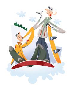 スノーボードをするカップルのイラスト素材 [FYI03052235]